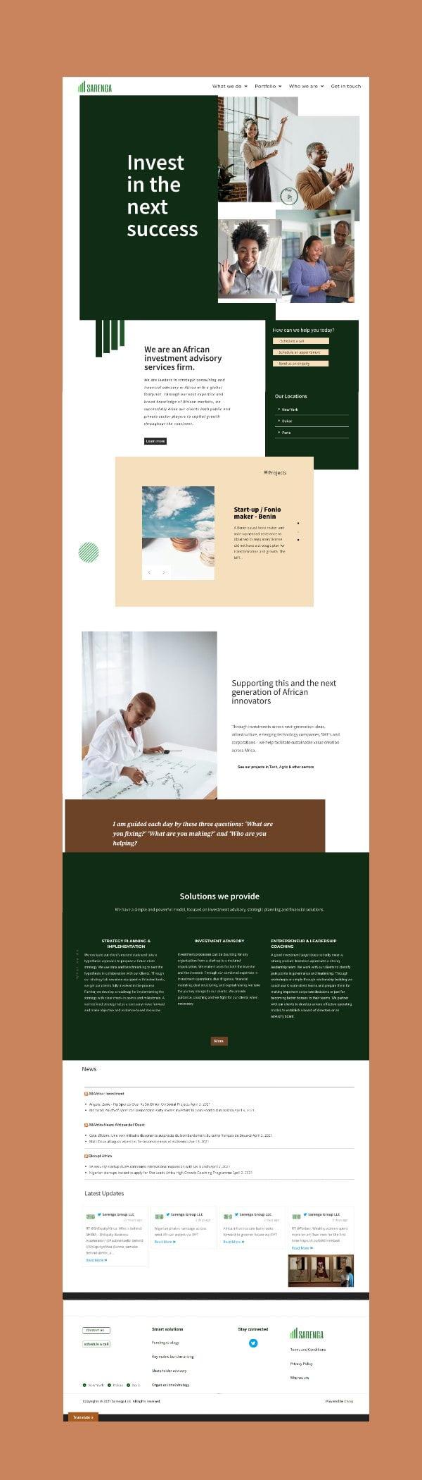Portfolio - website design (sarenga group)